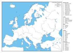 Okrajová moře: 1. Barentsovo moře 2. Norské moře 3. Baltské moře