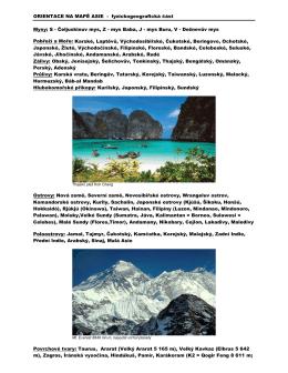 ORIENTACE NA MAPĚ ASIE - fyzickogeografická část Mysy: S