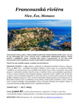 ZÁJEZD - Francouzská riviéra - Nice, Éze, Monaco