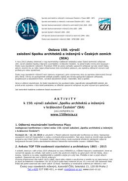 Aktivity - 150 let SIA