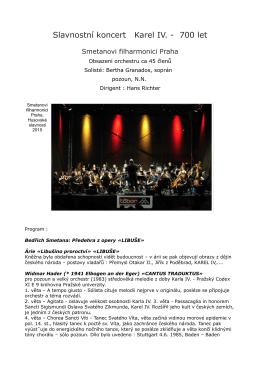 Smetanovi filharmonici - koncert Karel IV, web