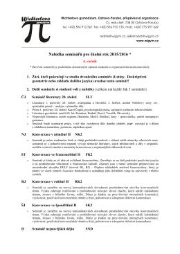 Nabídka seminářů pro 4. ročník 2015/2016