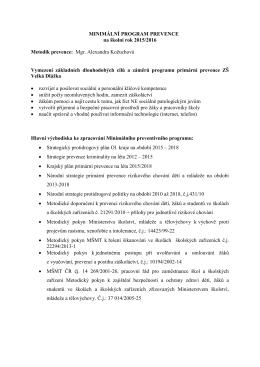Minimální program prevence na školní rok 2015/2016