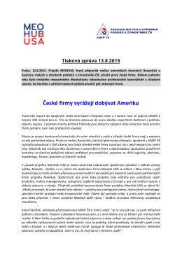 Tisková zpráva MeoHub USA