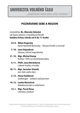 Poznáváme sebe a region - Krajská knihovna Vysočiny