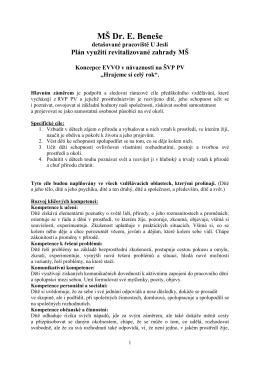 Plán využití - MŠ Dr. E.Beneše, Kralupy nad Vltavou