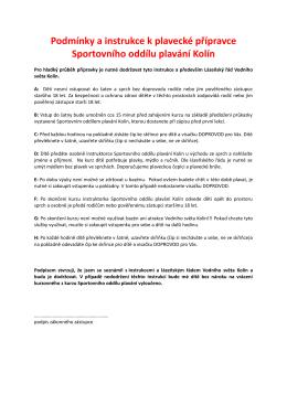 Podmínky a instrukce k plavecké přípravce Sportovního oddílu