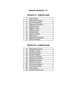 Seznam studentů 1. P Skupina A