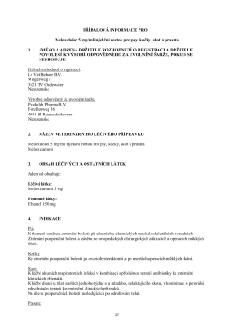 PŘÍBALOVÁ INFORMACE PRO: Meloxidolor 5 mg/ml injekční roztok