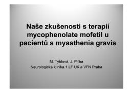 Naše zkušenosti s terapií mycophenolate mofetil u pacientů s