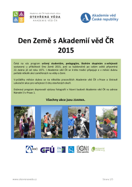 Program Den Země s Akademií věd ČR 2015