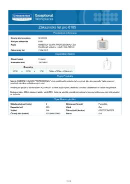 Zákaznický list pro 6185 - KIMBERLY