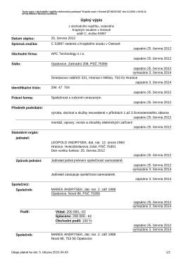 Výpis z Obchodního rejstříku v PDF