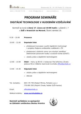 program semináře digitální technologie v hudebním vzdělávání