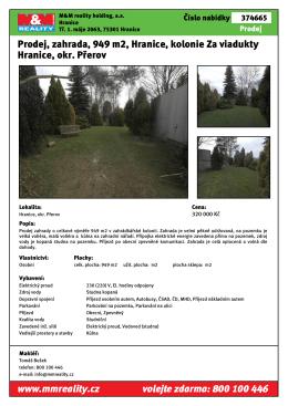 Prodej, zahrada, 949 m2, Hranice, kolonie Za viadukty