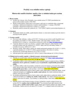 Rozpis soutěží družstev mužů a žen pro sezónu 2015/16