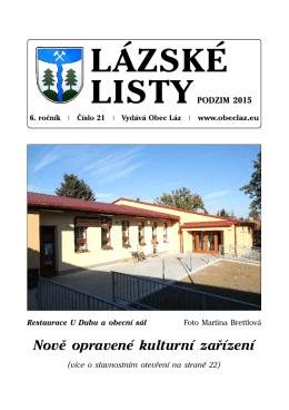 Lázské listy- podzim 2015