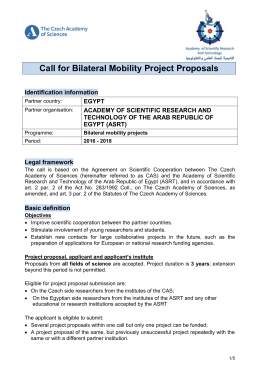 Call for Bilateral Mobility Project Proposals