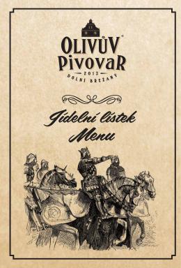 Jídelní lístek - Olivův pivovar