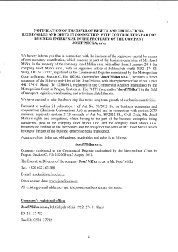JOSEF MIčKA, s.ľ.o. - Josef Mička Transport & Logistics