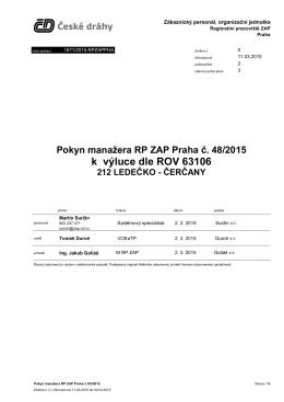 Pokyn manažera RP ZAP Praha č. 48/2015