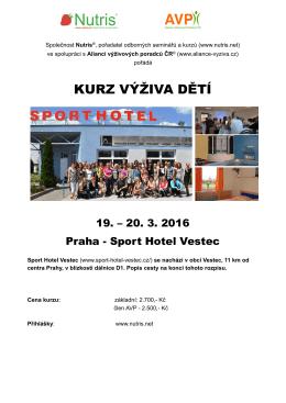 Výživa dětí Praha- Sport Hotel Vestec