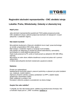 Regionální obchodní reprezentant/ka - CNC obráběcí stroje
