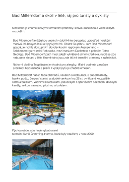 Bad Mitterndorf a okolí v létě, ráj pro turisty a