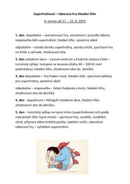 táborová hra Hledání šifer 4. turnus od 17. – 21. 8. 2015 1. den