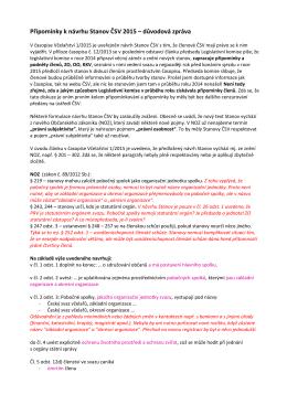 Připomínky k návrhu Stanov ČSV 2015 – důvodová zpráva