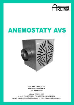 ANEMOSTATY AVS s vířivým výstupem vzduchu