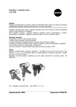 Regulátor vstupného tlaku Typ 4708