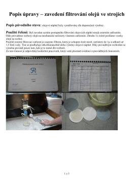 Popis úpravy – filtrování chladícího vzduchu DC elektromotoru lisu