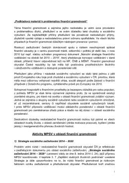 Aktivity MPSV v oblasti finanční gramotnosti