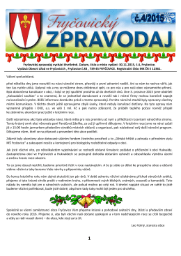 Fryčovický zpravodaj č.4 2015