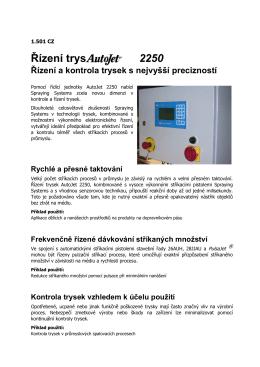 Řízení a kontrola trysek AutoJet 2250