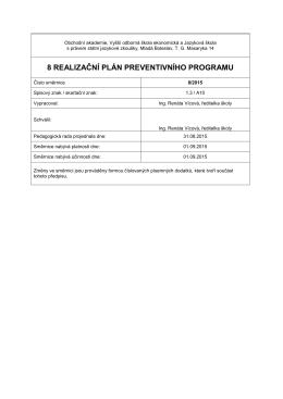 Preventivní program - Obchodní akademie, Vyšší odborná škola