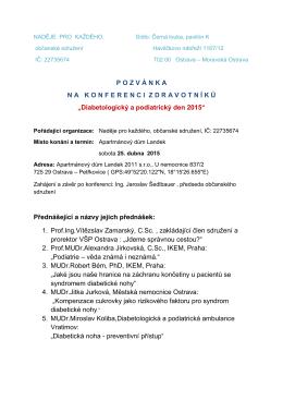 Diabetologický a podiatrický den 2015