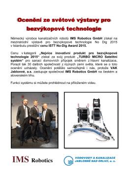 Společnost IMS Robotics získala mezinárodní ocenění