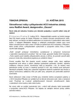 TISKOVÁ ZPRÁVA 21. KVĚTNA 2015