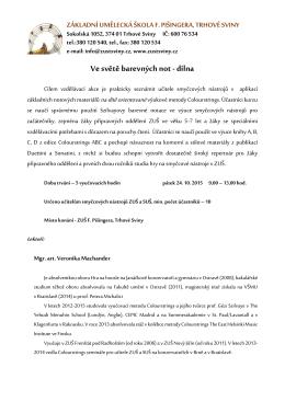 Obsah semináře - ZUŠ Trhové Sviny