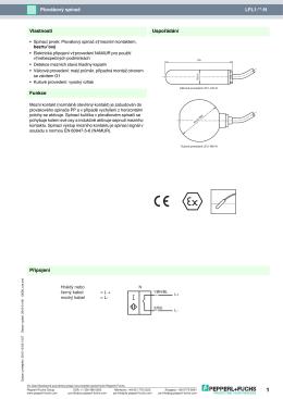 LFL1-**-N Plovákový spínač Připojení Uspořádání Funkce Vlastnosti