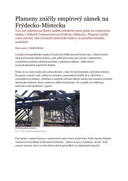 Plameny zničily empírový zámek na Frýdecko