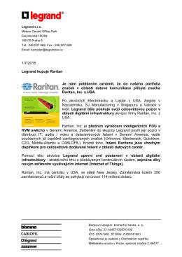 1/7/2015 Legrand kupuje Raritan Je nám potěšením oznámit, že do