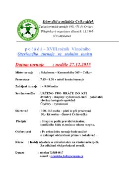 Datum turnaje : neděle 27.12.2015