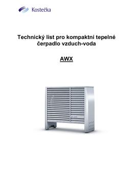 Technická data TČ AWX