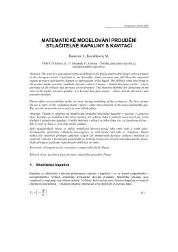 matematické modelování proudění stlačitelné kapaliny s kavitací
