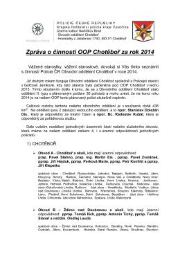 Zpráva o činnosti OOP C činnosti OOP Chotěboř za rok