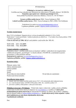 Přihláška TAT 2015 - Psychiatrická nemocnice Bohnice