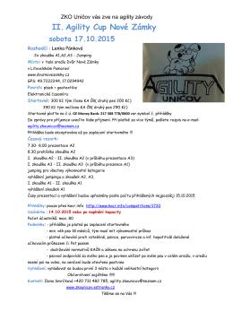 II. Agility Cup Nové Zámky sobota 17.10.2015